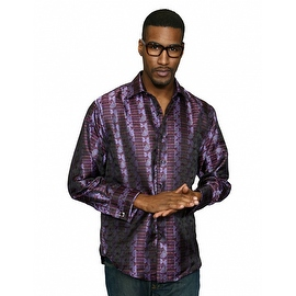 MZT-227 PLUM Men's Manzini Paisley Woven Shirt French Cuff with Cufflink Included