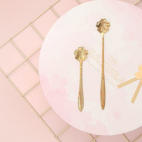 G Home Collection Sakura Gold Spoon Two Sizes Set of 2