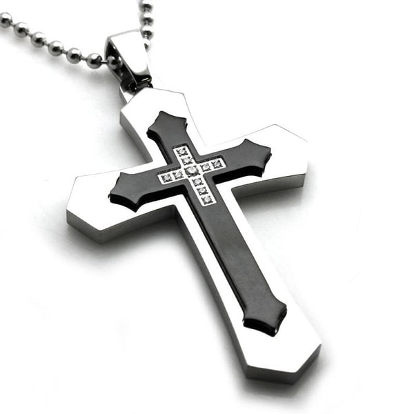 Stainless Steel Black Gothic Layered Cross Pendant w/ CZ - 24 inches