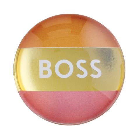 "2"" Round 3D Glass Magnet with ""Boss"" Design"