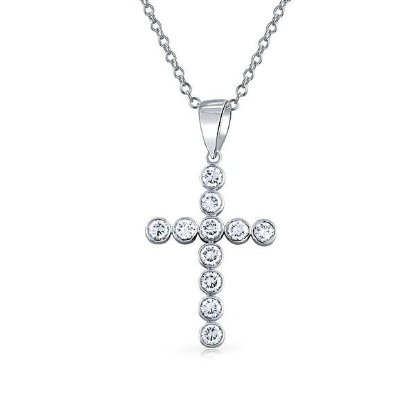 925 sterling silver cz bubble large cross pendant necklace 18 inch 925 sterling silver cz bubble large cross pendant necklace 18 inch aloadofball Image collections