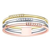 Prism Jewel 0.80MM 0.05CT G-H/I1 Natural Diamond Tri-Color Gold Light Weight Stackable Ring - White G-H