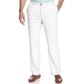 Tasso Elba Island Linen Blend Drawstring Casual Pants White Pure Large L