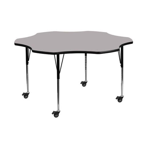 """Offex 60"""" Mobile Flower Shaped Activity Table with Grey Thermal Fused Laminate Top and Standard Height Adjustable Legs - N/A"""