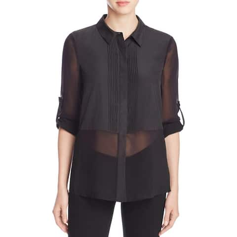 Finity Womens Blouse Pintuck Button-Down