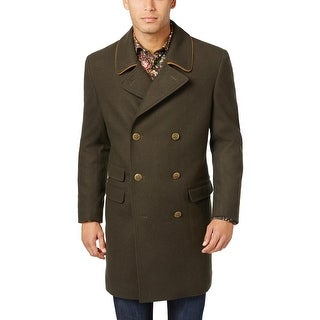 Tallia Orange Mens Wool Blend Peacoat Overcoat Dark Olive Green Medium M