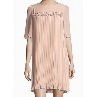Nanette Pink Womens Size 4 Pleated Embroidered Floral Shift Dress