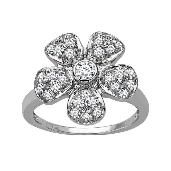 Flower Ring with Swarovski Elements Crystal in Sterling Silver - White