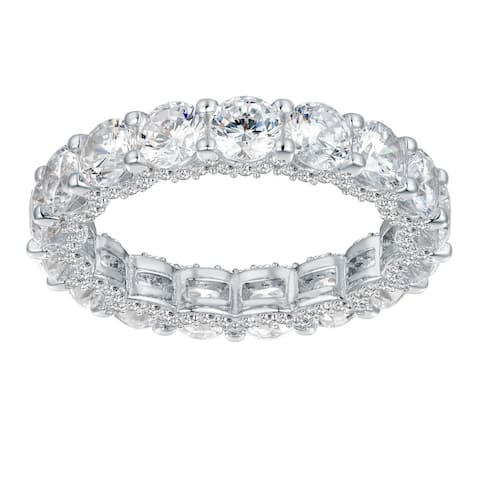 6.30 cttw Round-Cut Cubic Zirconia Eternity Band, Sterling Silver