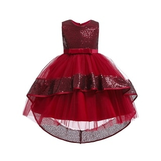 Link to Rainkids Burgundy Sequin Bow Tulle Hi-Low Flower Girl Dress Big Girls Similar Items in Girls' Clothing