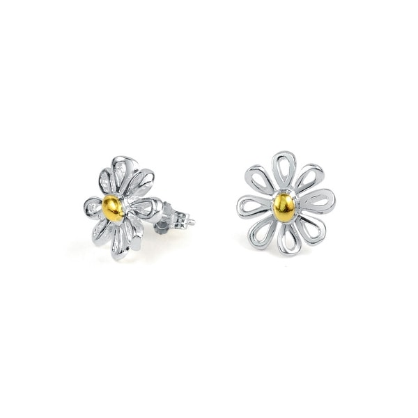 Bling Jewelry Daisy Stud Earrings Gold Plated 925 Sterling Silver 12mm