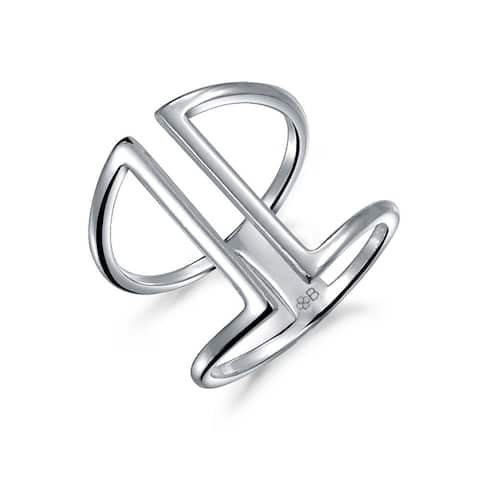 Boho Double Vertical Bar Ring 925 Sterling Silver Ring Adjustable