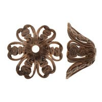 Vintaj Natural Brass, Fluted Flower Bead Caps 20x10mm, 2 Pieces