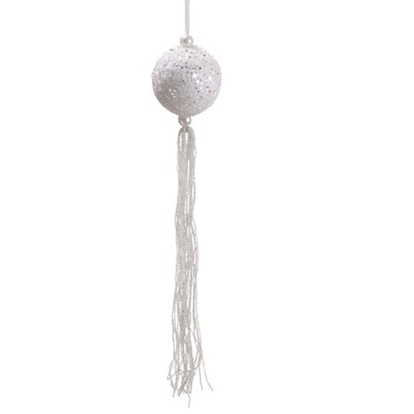 "12"" Winter Frost White Glitter Christmas Ball Ornament with Tassels and Beads"