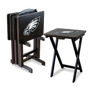 Official Licensed Philadelphia Eagles NFL Football TV Snack Trays with Storage Racks (Set of 4)