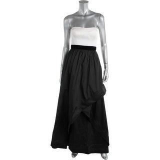 Adrianna Papell Womens Petites Taffeta Strapless Semi-Formal Dress - 2p