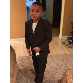 Little Boys Black 5 Piece Classic Vest Jacket Pants Special Occasion Suit