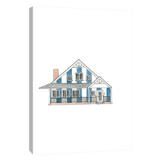 """PTM Images 9-105585  PTM Canvas Collection 10"""" x 8"""" - """"Little Striped Houses Blue"""" Giclee Houses Art Print on Canvas"""
