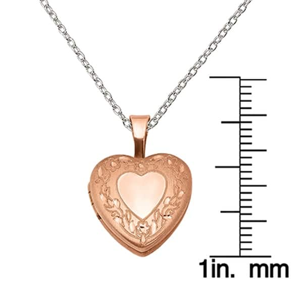 14k ROSE GOLD  SILVER FLOWER HEART PENDANT NECKLACE  FREE CHAIN LOCKET