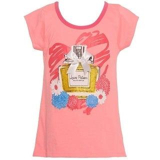 "Mini Moca Little Girls Neon Peach ""Love Potion"" Bow Floral Print Top"