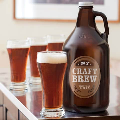 Libbey Craft Brews Beer Glass Set with Glass Growler and Metal Cap, 4 Glasses