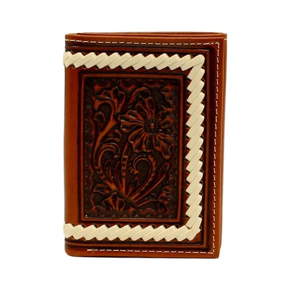 Ariat Western Wallet Mens Trifold Floral Embossed Laced Tan