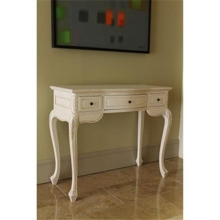 International Caravan Inc 3979-AW Carved Vanity Desk - Antique White
