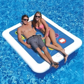 "Tablet Shaped Double Wide Large Inflatable Vinyl Pool Float - 67"" X 50"" - Multi"