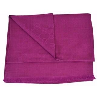 "Gucci 362654 Wool Silk Blend Amethyst Pink GG Guccissima Large Muffler Scarf - 78"" x 28"""