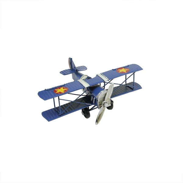 "6.25"" Vintage-Style Blue Airplane with Stars and Stripes Decorative Christmas Ornament"