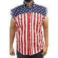 Men's USA Flag Sleeveless Denim Shirt Red White & Bold Biker Stars & Stripes - Thumbnail 1