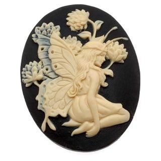 Lucite Oval Cameo - Black With Ivory Fairy And Flowers 40x30mm (1 Piece)