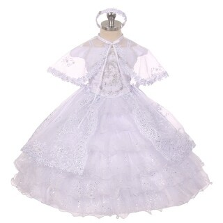 Rain Kids Baby Girl White Virgin Mary Embroidery Baptism Christening Dress 6-12M