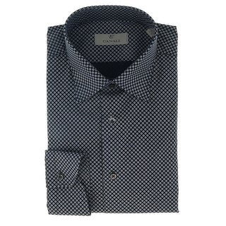 Canali Navy Blue Floral Neat Formal Shirts - 45-17.75