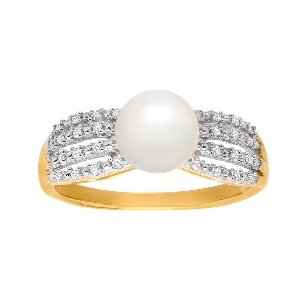 7 mm Pearl and 1/10 ct Diamond Ring in 14K Gold