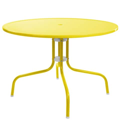 39.25-Inch Outdoor Retro Metal Tulip Dining Table, Yellow