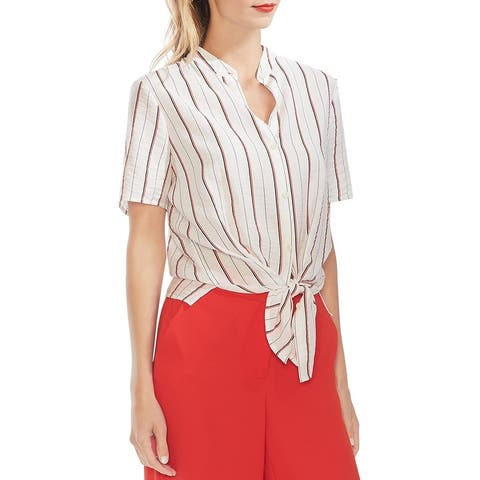 Vince Camuto Womens Button-Down Top Striped Tie Front
