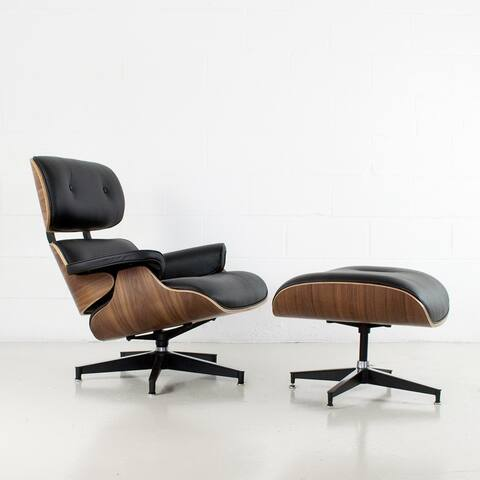 Charles Mid-century Top Grain Leather Lounge Chair & Ottoman Set