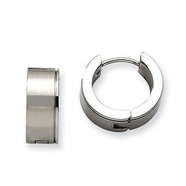 Chisel Stainless Steel Satin Hinged Hoop Earrings