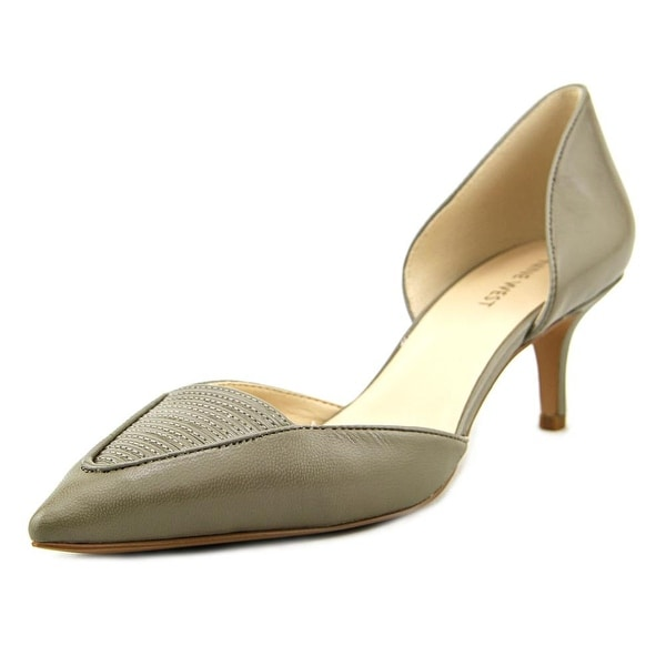 Nine West Xrazy Women Pointed Toe Leather Gray Heels