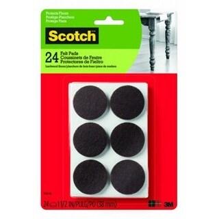 3M 236648 1.5 in. Scotch Brown Round Felt Pads - 24 Count