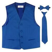Little Boys Royal Blue Vest Bow-tie Tie Special Occasion 3 Pcs Set