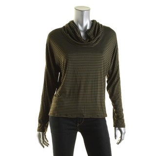 One Clothing Womens Juniors Cowl-Neck Striped Pullover Top