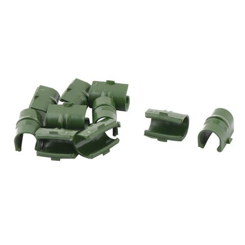 Garden Plastic Net Film Cover Pipe Fastener Snap Clamp 17mm Mounting Dia 10pcs
