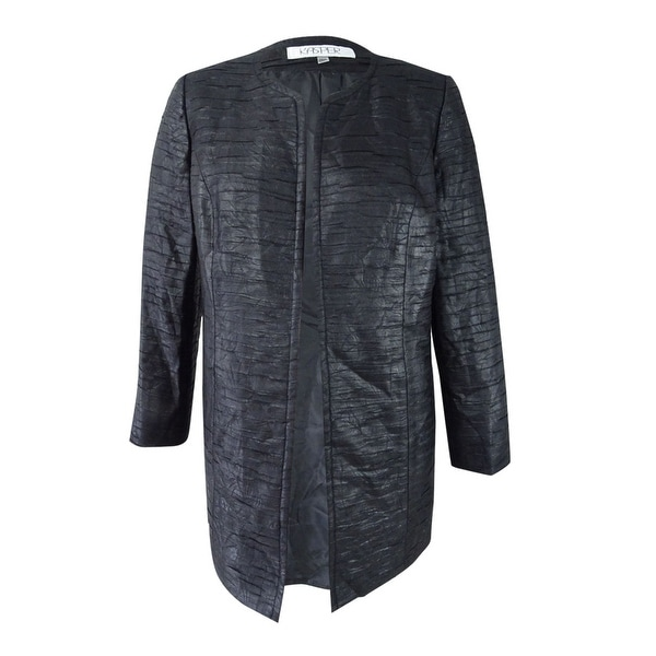 Kasper Women's Plus Size Jacquard Open-Front Jacket - Black