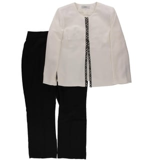 Tahari ASL Womens Plus Leonard Colorblock 2PC Pant Suit - 14W