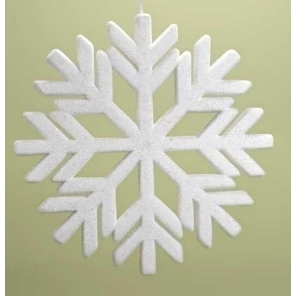 "18.75"" Snowy Winter Flocked Commercial Sized Geometric Snowflake Christmas Ornament - WHITE"