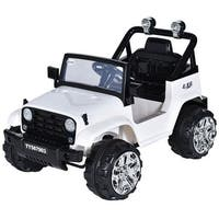 Costway 12V Kids Ride on Truck Jeep Car RC Remote Control w/ LED Lights Music MP3 White