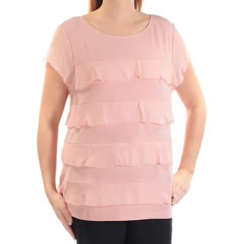 CHARTER CLUB Womens Pink Ruffled Short Sleeve Jewel Neck Tiered Top Size: L