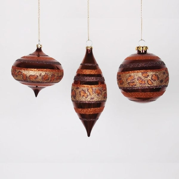 "Set of 3 Diva Safari Cheetah Print & Stripes Gold, Copper and Coffee Christmas Ornaments 7"" - ORANGE"